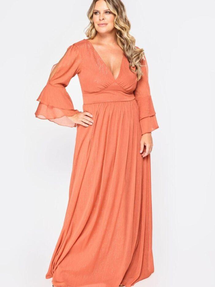 vestido de festa plus size terracota