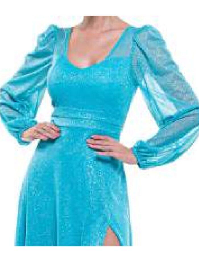 Vestido azul tiffany escuro manga longa
