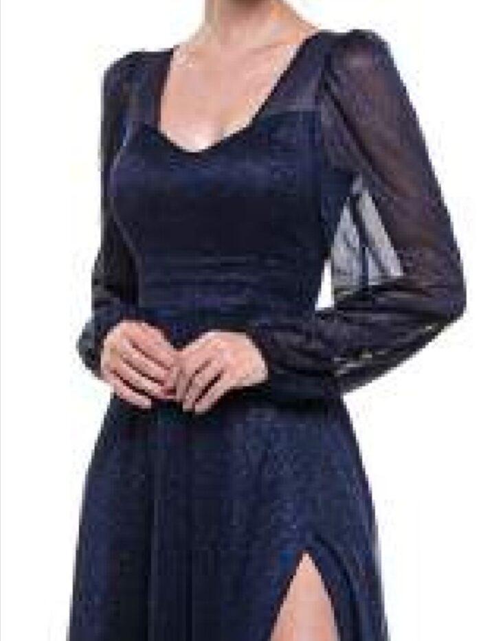 Vestido azul escuro manga longa