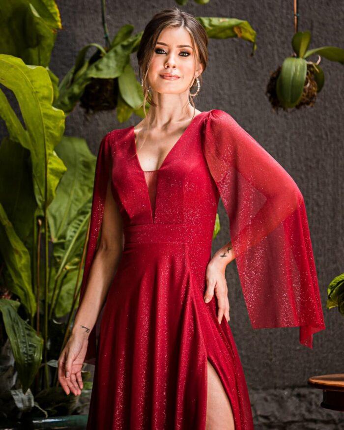 vestido madrinha marsala