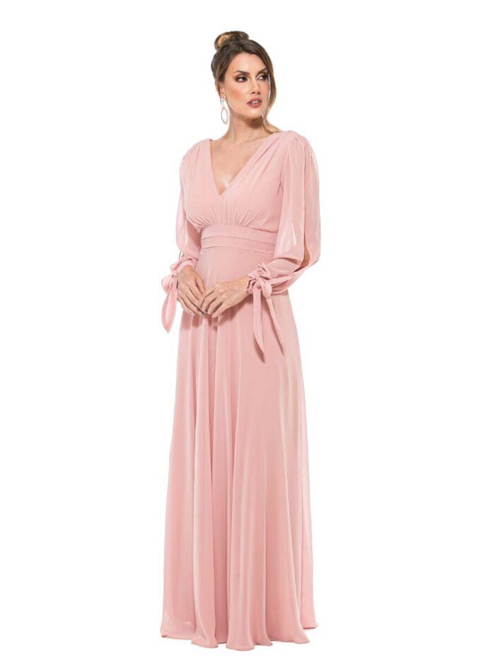 Vestido rose manga vazada