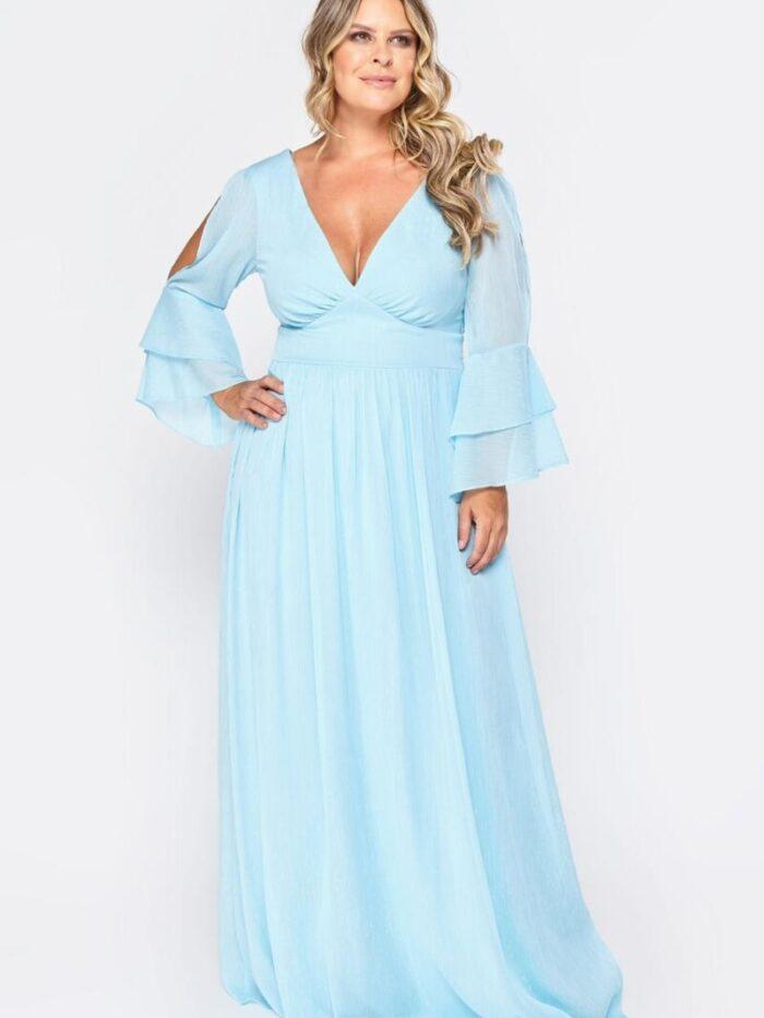 vestido de festa plus size azul serenity