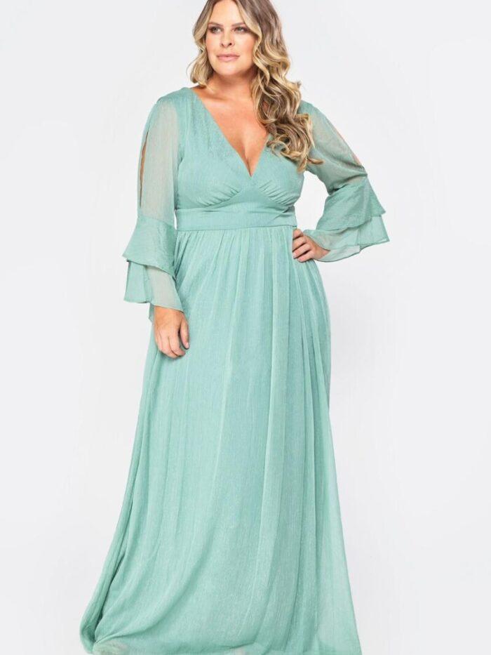 vestido de festa plus size verde menta