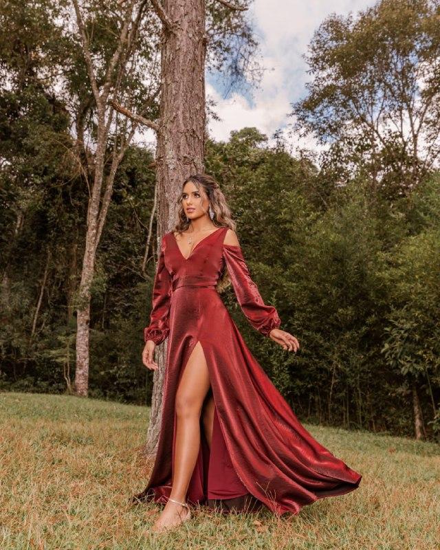 vestido de festa - madrinha marsala