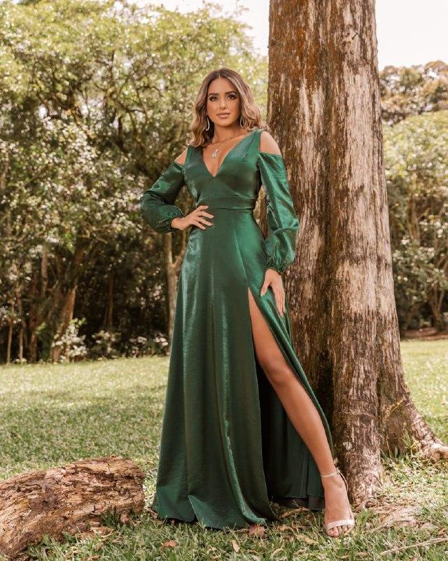 vestido de festa - madrinha verde musgo